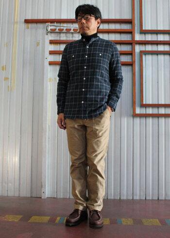 MANUALALPHABETMAS-356シャギーチェック柄バンドカラーシャツ長袖シャツNavy