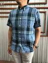 MANUALALPHABET麻シャツ半袖ボタンダウンシャツリネン素材