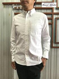 MANUAL ALPHABET マニュアルアルファベット BASIC-ST-001スーピマコットンオックス素材ボタンダウンシャツ White 送料無料