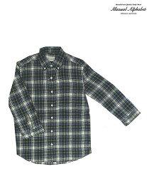 【SALE】MANUAL ALPHABET マニュアルアルファベット MK-S033 リネン七分袖ボタンダウンシャツ Blue Green Check 日本製