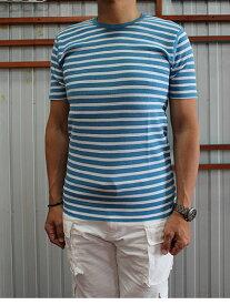 【SALE】gicipi ジチピ(Italy) 301 WAFFLE GIRO COLLO M/M ワッフル素材ボーダークルーネックTシャツ Cobalt Bianco Gri melange Cobalt ボーダーTシャツ イタリア製【あす楽対応】