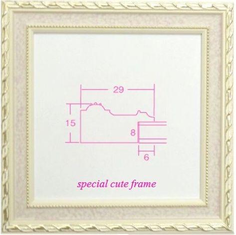 5663 ピンク 150角 とっても可愛い木製フレーム 日本製額縁 限定品 アウトレット品 パステルアートに人気 表面保護/ガラス キュートな15センチ角