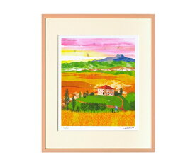 はりたつお 四つ切36.5×44×2cm  フレーム色ピンク 『オルチャ渓谷収穫の季節(イタリア)』 インテリア額装品 受注生産品 大額 ピンクc1059