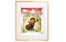 はりたつお 四つ切36.5×44×2cm  フレーム色ピンク 『ギターと少年 』 インテリア額装品 受注生産品 大額 ピンクc1006