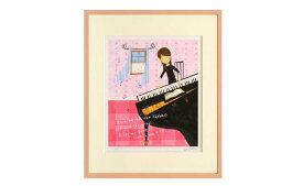 はりたつお 四つ切36.5×44×2cm  フレーム色ピンク 『A spring day 〜ある春の日〜』 インテリア額装品 受注生産品 大額 ピンクc1012