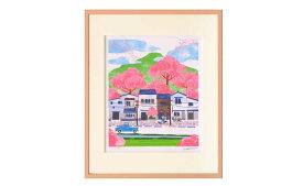 はりたつお 四つ切36.5×44×2cm フレーム色:ピンク 『桜の季節』 インテリア額装品 受注生産品 大額 ピンクc-1026