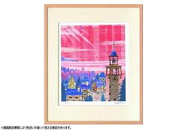 はりたつお 四つ切36.5×44×2cm  フレーム色ピンク 『鐘つきの塔』 インテリア額装品 受注生産品 大額 ピンクc1035