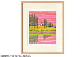 はりたつお 四つ切36.5×44×2cm  フレーム色ピンク 『風車2 』 インテリア額装品 受注生産品 大額 ピンクc1049