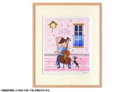 はりたつお 四つ切36.5×44×2cm  フレーム色ピンク 『たなばたに願いをこめて』 インテリア額装品 受注生産品 大額 ピンクc1049