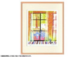 はりたつお 四つ切36.5×44×2cm  フレーム色ピンク 『窓』 インテリア額装品 受注生産品 大額 ピンクc1041
