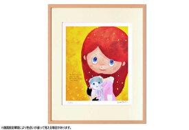 はりたつお 四つ切36.5×44×2cm  フレーム色ピンク 『星のなみだ』 インテリア額装品 受注生産品 大額 ピンクc1077