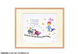 はりたつお 四つ切36.5×44×2cm  フレーム色ピンク 『dreamin' 』 インテリア額装品 受注生産品 大額 ピンクc1064