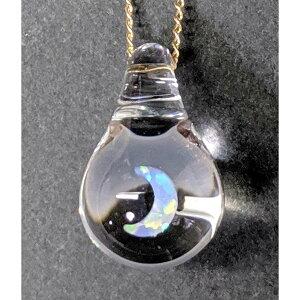 ネックレス 星 月 プチネックレス ペンダントトップ オパール ティアドロップ 雫 ガラス プレゼント 宇宙ガラス 手作り 一点モノ プチギフト