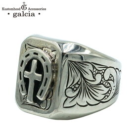 "galcia / ガルシア "" RECTANGLE ENG RING / HORSESHOE & CROSS "" SILVER 925 ホースシュー クロス メキシカン シルバー リング トゥーフェイス (18R-RE204SS)"