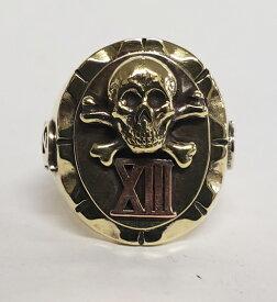 "galcia / ガルシア MEXICAN RING ""SKULL CROSS BONE & XIII"" BRASS & COPPER ブラス カッパー 真鍮 銅 メキシカンリング スカル クロスボーン アルファ オメガ 13 (20R-MEX001BC#20)"