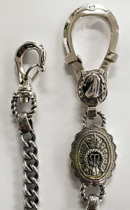 """galcia / ガルシア """" HORSESHOE CONCHO & AGAVE WALLET CHAIN """" SILVER 925 HORSE HORSESHOE シルバー コンチョ アガヴェ ホース ホースシュー 蹄鉄 馬蹄 メキシカン ウォレット チェーン (20WCS-CHA001SS)"""