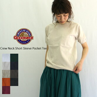 有Goodwear圓領短袖口袋的T恤(CREW NECK S/S POCKET-T WITH CUFF AND HEM RIB)NGT9801P女士人男女兩用T shatsukattosopoketi
