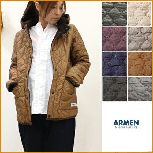 【送料無料】ARMEN【アーメン】ナイロン/フリース リバーシブルフード付きキルティングジャケット NAM0562 NAM1752 レディース フード リバーシブル