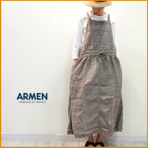 【送料無料】ARMEN【アーメン】製品染めリネンエプロンワンピース NAM1432LH レディース 麻 オーバーダイ