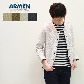 ARMEN アーメン キルティングジャケット レディース コットンキルトノーカラージャケット NAM1407 綿キルト アウター