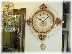 時計 壁掛け 振子 家具 インテリア インテリア小物 和風 洋風【送料無料!】可愛い壁掛け時計新品 壁掛け薔薇モチーフアンティーク調振子時計おしゃれ 豪華 可愛い シンプル アンティーク