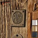 7505-38 ドア・サイン「プッシュ(押す)」 全3色[ネコポス可]【ドアプレート サインプレート トイレ デザイン 業務用 扉 部屋 ドアノブ 押す 引くPUSH PULL真鍮 ゴールド ブラック シルバー】