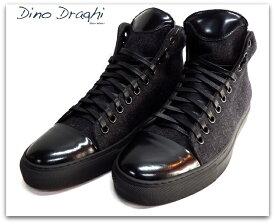 Dino Draghi (ディーノ ドラーギ) フェルト×レザー ハイカット スニーカー ブラック