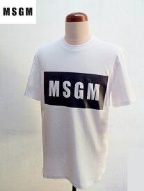 MSGM (エムエスジーエム) ロゴプリント 半袖 Tシャツ ホワイト(白)