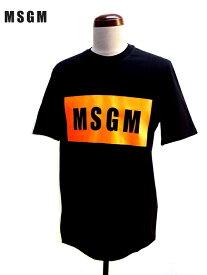 MSGM (エムエスジーエム) ロゴプリント 半袖 Tシャツ ブラック×オレンジ