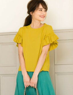 100-percent-cotton smooth comfort. Daily tops M/L size frill sleeve crew neck cut-and-sew Lady's T-shirt tops cotton short sleeves frill sleeve feminine commuting office casual casual clothes [correspondence] full of the femininity