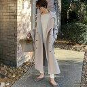 こなれた女性らしさを演出するトレンチ風デザイン C/M/Lサイズ ジャージーメルトントレンチデザインコート レディース…