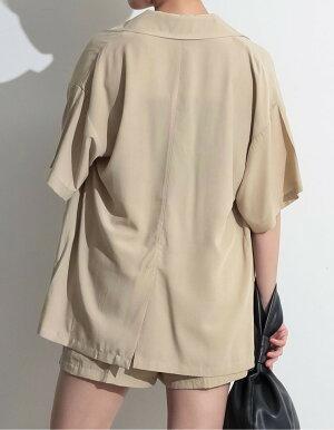 ≪6月13日発売≫てろんとした夏素材のカジュアルジャケットフリーサイズハーフスリーブサマーテーラードジャケットレディース/オーバーサイズビッグシルエット5分袖セットアップサマージャケット[2020春夏新作]