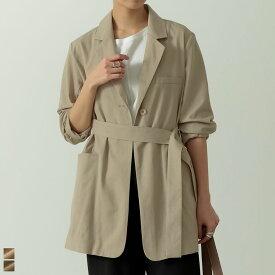 【アウトレットフェア】オフィスにも!ナチュラルでリュクスなジャケットが登場M/Lサイズ リネンブレンドボタンベルト付きジャケット レディース/ジャケット リネンジャケット サマージャケット [あす楽対応]