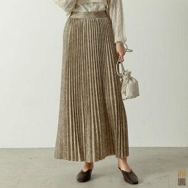 【スプリングフェア】トレンドアイテムを、揺れ感優美なプリーツスカートで取り入れて。SC/M/Lサイズ [低身長サイズ有]ダマスク柄プリーツマキシスカート レディース/プリーツスカート 2021春[C-size]