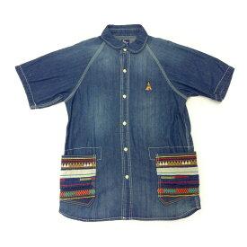 go slow caravan ゴースローキャラバン デニム シャツ 五分袖 ネイティブ柄 刺繍 ラグラン 丸襟