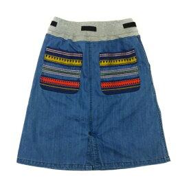 ゴースローキャラバン デニムスカート ネイティブ刺繍 全2色 レディースフリーサイズ