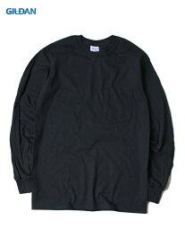 【USモデル/即納】GILDAN ギルダン ポケット付き ロンT ロングスリーブ ウルトラコットン 無地 黒 ブラック 6.0oz LONG SLEEVE POCKET T-SHIRTS black