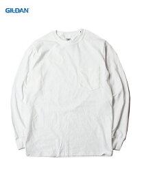 【USモデル/即納】GILDAN ギルダン ポケット付き ロンT ロングスリーブ ウルトラコットン 無地 白 ホワイト 6.0oz LONG SLEEVE POCKET T-SHIRTS white