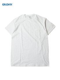 【USモデル/即納】GILDAN ギルダン ポケット付き Tシャツ ウルトラコットン 無地 プレーン ポケTee 白 ホワイト 6.0oz POCKET Tee-SHIRTS white