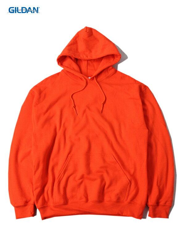 【即納】GILDAN ギルダン プルオーバー パーカー フード プレーン 無地 オレンジ 8.0oz PLAIN PULLOVER HOODIE orange