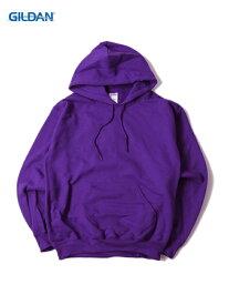 【即納】GILDAN ギルダン プルオーバー パーカー フード プレーン 無地 裏起毛 ワイド 紫 パープル 8.0oz PLAIN PULLOVER HOODIE purple