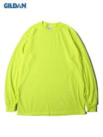 【USモデル】GILDAN 6oz LONG SLEEVE TEE - SHIRTS safety green ギルダン 6オンス ロングスリーブ Tシャツ ウルトラコットン 長袖 無地 プレーン セーフティー グリーン 蛍光