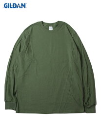 【USモデル】GILDAN ギルダン ロンT ロングスリーブ ウルトラコットン 無地 プレーン ミリタリーグリーン カーキ 6.0oz LONG SLEEVE T-SHIRTS military green