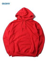 【即納】GILDAN ギルダン プルオーバーパーカー フード プレーン 無地 裏起毛 ワイド ビッグパーカー 赤 レッド 8.0oz PLAIN PULLOVER HOODIE red