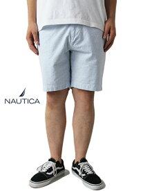 【正規品】【インポート】【あす楽】NAUTICA (ノーティカ) /STRIPE SHORTS sax/white ストライプ ショートパンツ ホワイト サックス
