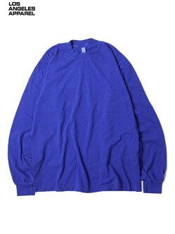 【USモデル】LosAngelesApparel6.5ozGARMENTDYECREWNECKLONGSLEEVETEESHIRTScobaltblueロサンゼルスアパレル6.5オンスクルーネックプレーン無地長袖後染めTシャツコバルトブルー