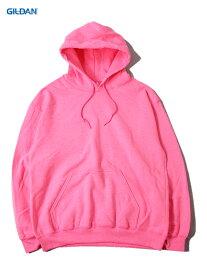 【インポート】GILDAN ギルダン プルオーバー パーカー フード プレーン 無地 セーフティー ピンク 蛍光色 ネオンカラー PLAIN PULLOVER HOODIE safety pink