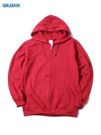 【即納】GILDAN ギルダン フルジップパーカー フード フーディー プレーン 無地 大きいサイズ 裏起毛 カーディナルレッド 8.0oz PLAIN FULL ZIP HOODIE cardinal red