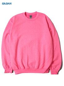 【インポート】GILDAN ギルダン クルーネックスウェット セットイン トレーナー プレーン 無地 蛍光色 セーフティー ピンク 8.0oz PLAIN SETIN TRAINER SWEAT safety pink