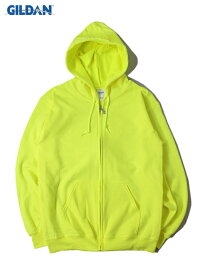 【即納】GILDAN ギルダン フルジップパーカー フード フーディー プレーン 無地 裏起毛 セーフティー グリーン PLAIN FULL ZIP HOODIE safety green
